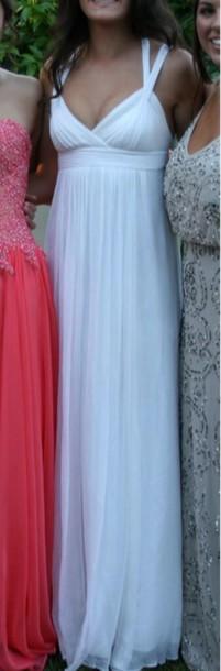 dress white dress prom dress prom gown vneck dress
