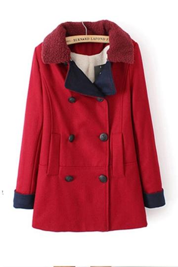 Detachable Collar Double Breasted Coat [FEBK0514]- US$ 74.99 - PersunMall.com