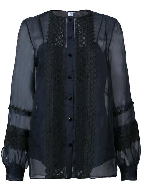 Oscar de la Renta - button up top - women - Silk - 0, Black, Silk