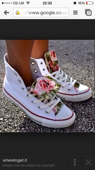 shoes flower white converse