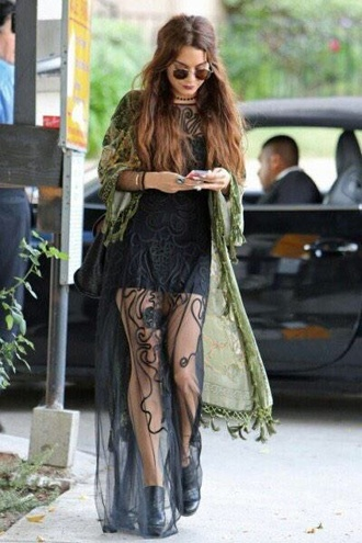 black dress sheer vanessa hudgens bohemian dress boho dress lace dress maxi dress coachella
