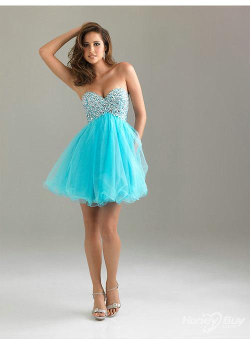 Sweetheart Discount Beaded Graduation Short Blue Prom Dresses