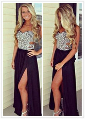 dress,long prom dress,beaded dress,slit dress,sweetheart dress,black dress