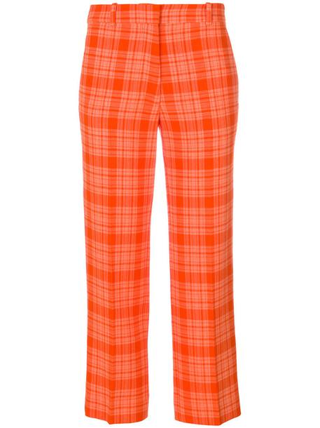 Victoria Beckham women plaid wool yellow orange pants