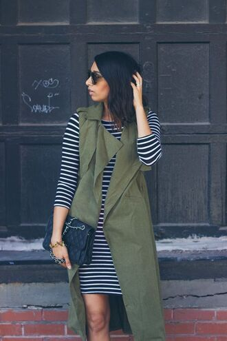 coat sleeveless trench striped knitted dress stripe knit dress army green trench striped dress knitted dress chanel bag quilted bag chain strap bag sunglasses