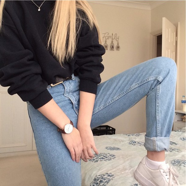 Sweater jeans high waisted denim blue tumblr grunge blue jeans black hipster mom jeans ...