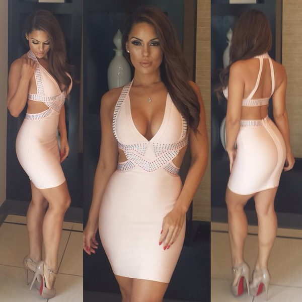 style dress dress women women sexy dress sexy prom dress pink dress diamonds jewels light peach dress club dress party dress sexy party dresses cut-out dress bandage dress v neck dress