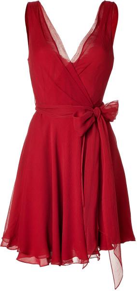 c33800af4de4 Ralph Lauren Parisian Red Crinkle Silk Chiffon Jeanette Dress in Red | Lyst