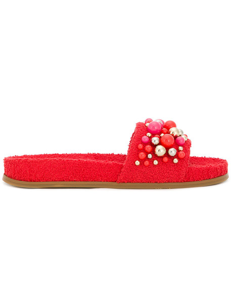 Aquazzura women pool leather cotton red shoes