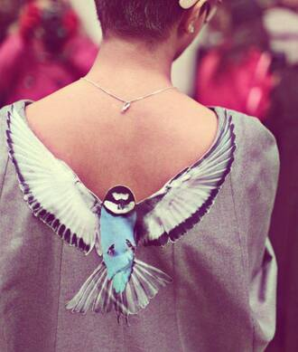 blouse shirt t-shirt top back birds birds top
