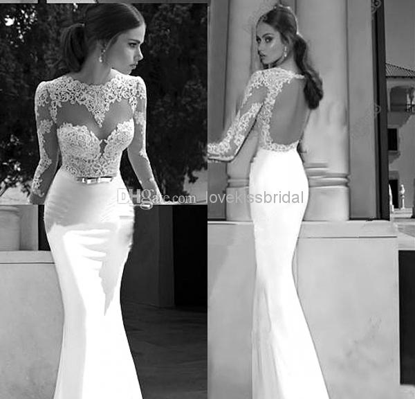 Discount 2015 SSJ New Elegant Mermaid Wedding Dresses Sheer Jewel Applique Long Sleeve See-Through Backless Lace Wedding Bridal Gowns Custom Made Online with $115.19/Piece | DHgate