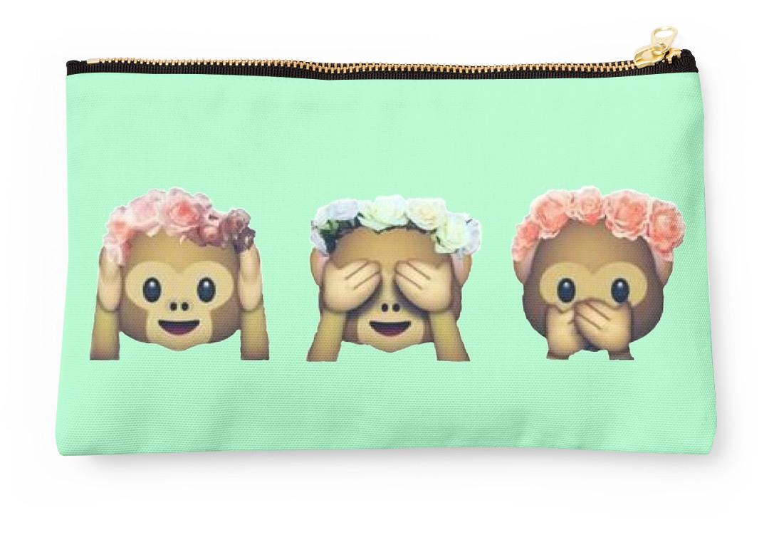 Monkey See No Evil Hipster Flower Crown Emoji