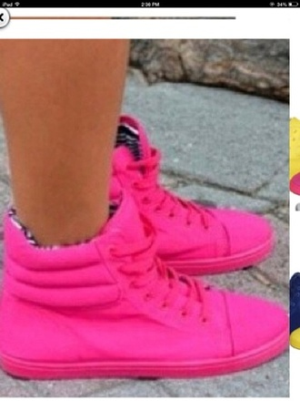 shoes neon pink high top sneakers jacket