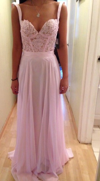 Dress: scarf, pink, pink dress, prom dress, corset top ... Lace Prom Dresses 2014