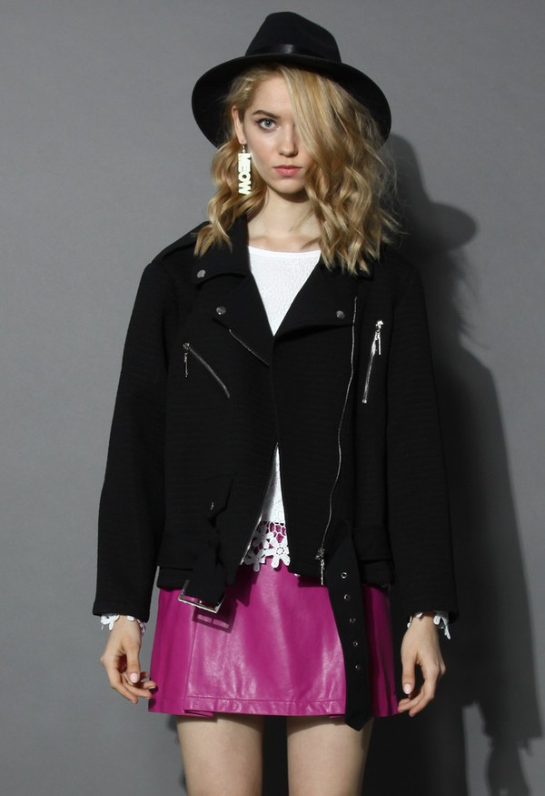 jacket chicwish belted biker jacket zip decor