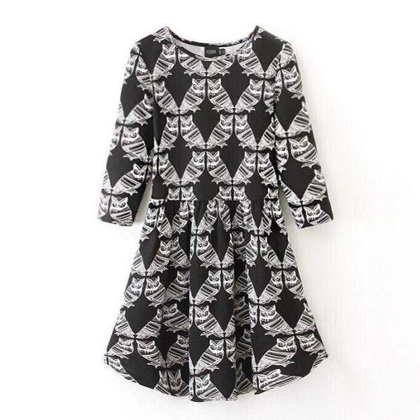 fall dress owl print dress black and white owl printing pleated dress mini dress cool dress