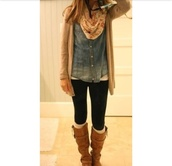 jacket,denim shirt,leggings,cardigan,scarf,boots,knitted socks,fall outfits,winter outfits,shoes,socks,pretty,floral,beige,shirt,sweater,blouse,bag,cute scarf denim shirt,top,button up,blue shirt,jeans,ombre,instagram,tumblr,tumblr girl,white girl,chambray,fashion,flowers,flower scarf,infinite scarf,knit tan cardigan,gloves,light brown cardigan