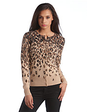 Petite Cashmere Leopard Print Cardigan | Lord and Taylor