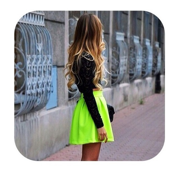 skirt neon neon yellow neon skirt yellow fluo fluo flourescent neon yellow skirt fluorescent yellow