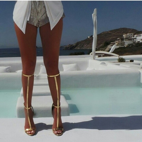Sexy Gladiator Bandage Sandals White Black Knee High Platform ...