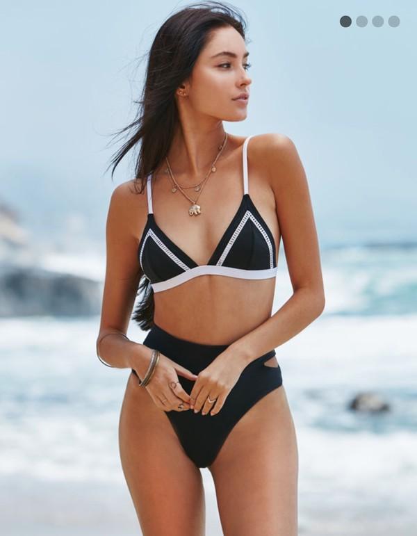 Swimwear: black and white, high waisted bikini, two piece ...