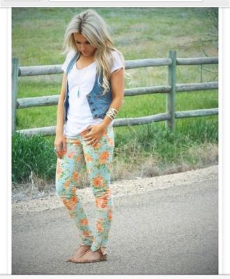 jeans denim jean jean vest denim vest white tee floral floral jeans floral denim sandals summer spring flowers