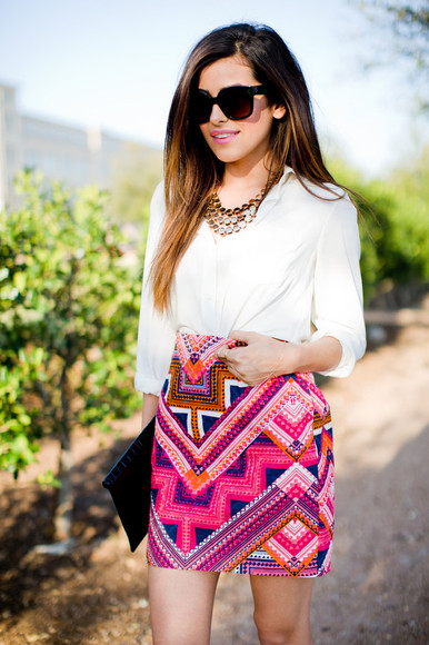 skirt tribal pattern aztec print skirt pink skirt pink tribal skirt tribal print skirt pink tribal print skirt pink aztec pink white blue orange