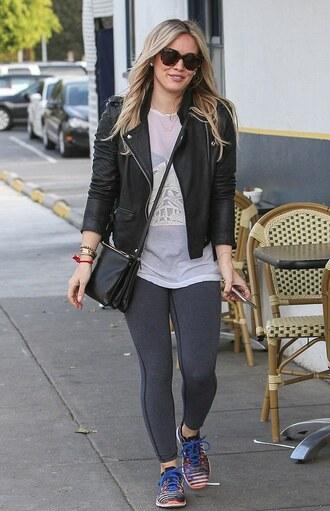 hilary duff leather jacket nike sneakers leggings