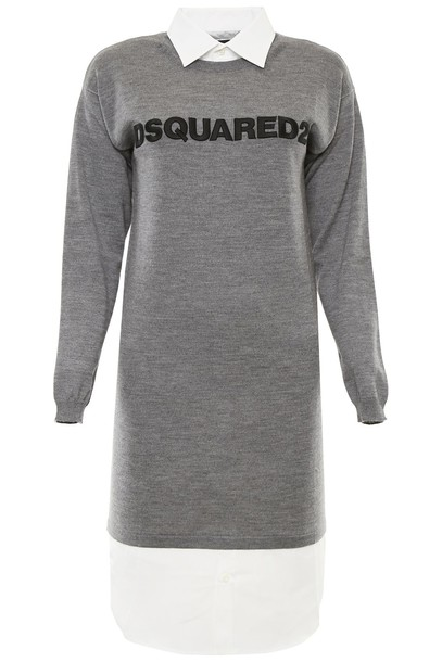 Dsquared2 dress cotton wool grey