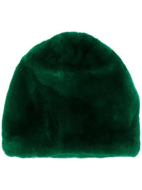 fur hat beanie green