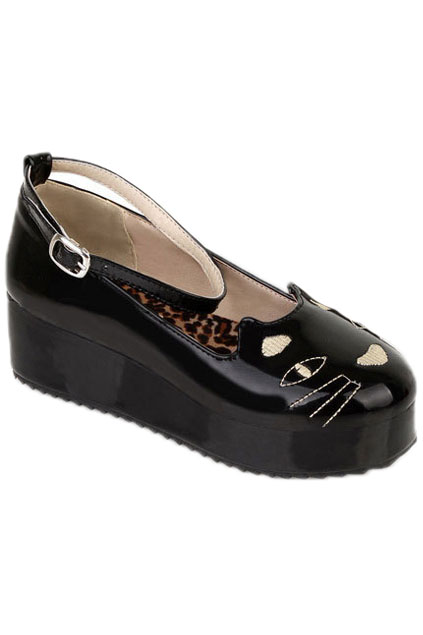 ROMWE | Wide-cut Cat Vamp Black Creepers, The Latest Street Fashion