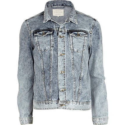 Denim acid wash denim jacket