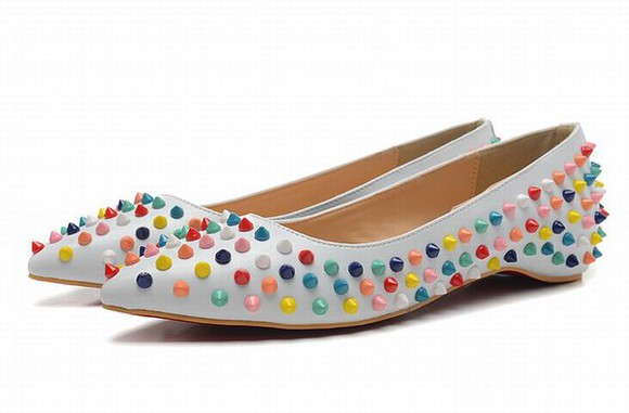 shoes christian louboutin christian louboutin multicolor spiked white flats for sale louboutin fashion mode style