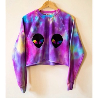 tank top colorful hipster alien style tumblr tie dye sweater