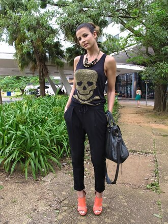 skull black pants pants t-shirt