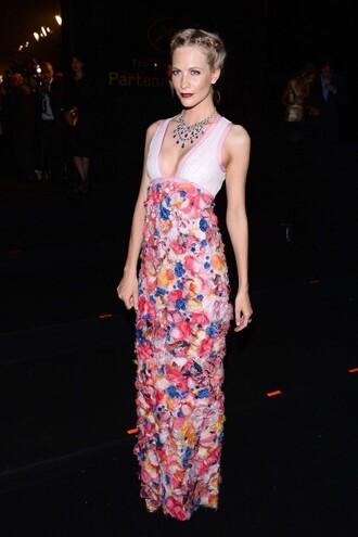 dress gown plunge v neck colorful cannes poppy delevingne maxi dress