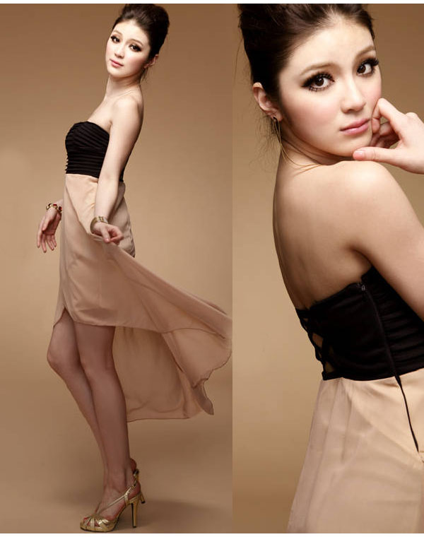 Strapless chiffon sheer asymmetric backless long dress black apricot high low