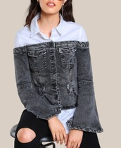 jacket,two toned,girly,denim jacket,denim