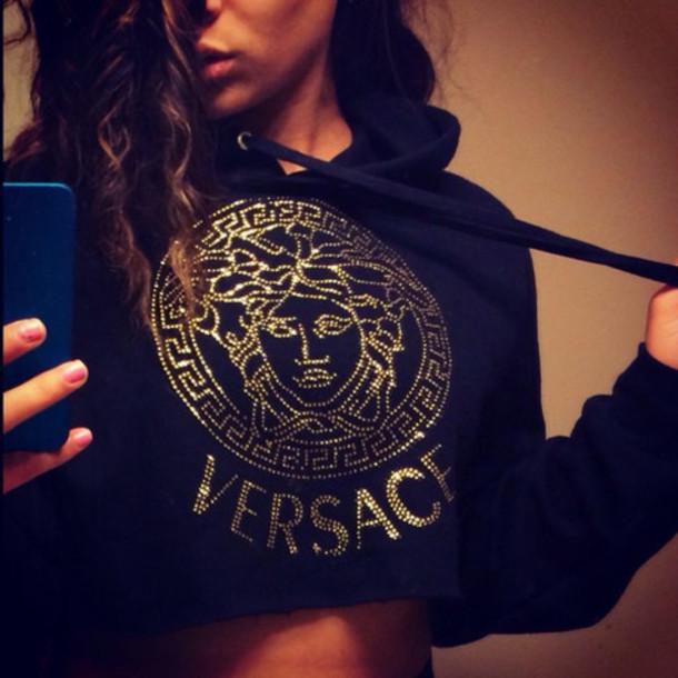 shirt versace cropped sweater hoodie cropped hoodie crop tops black