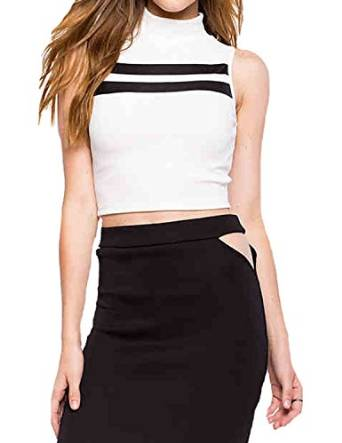 f1d73da25 haoduoyi Womens Basic Contrast High Collar Tank Crop Tops at Amazon Women's  Clothing store:
