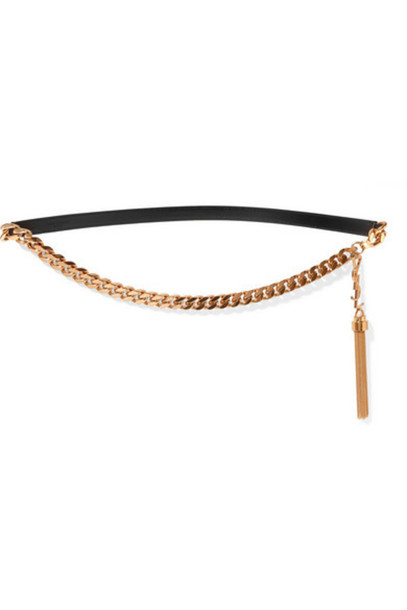 Saint Laurent aint Laurent - Tael-trimmed Gold-tone And Leather Belt - Black