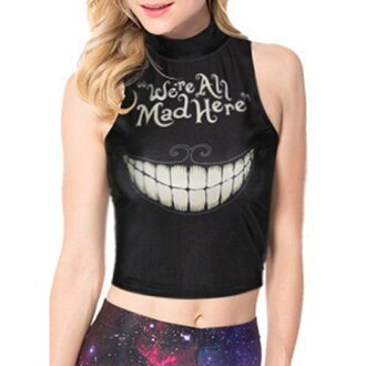 top halloween quote on it black crop tops goth graphic tee casual urban blackmilk galaxy print