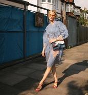 dress,shirt dress,stripes,sunglasses,bag,shoes