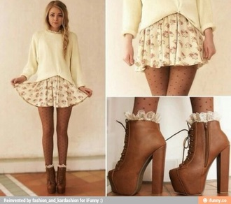 skirt socks frilly socks ruffled socks shoes boots tan shoes tan boots tan heels stockings polka dot stockings floral skirt white shirt white cardigan knitwear grunge pretty