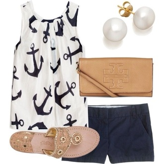 blouse anchor navy & white nautical tank