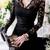 Sexy Womens See Through Black Lace Mini Dress Long Sleeve Deep V Neck Party 6384 | eBay