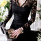 Sexy womens see through black lace mini dress long sleeve deep v neck party 6384 | ebay