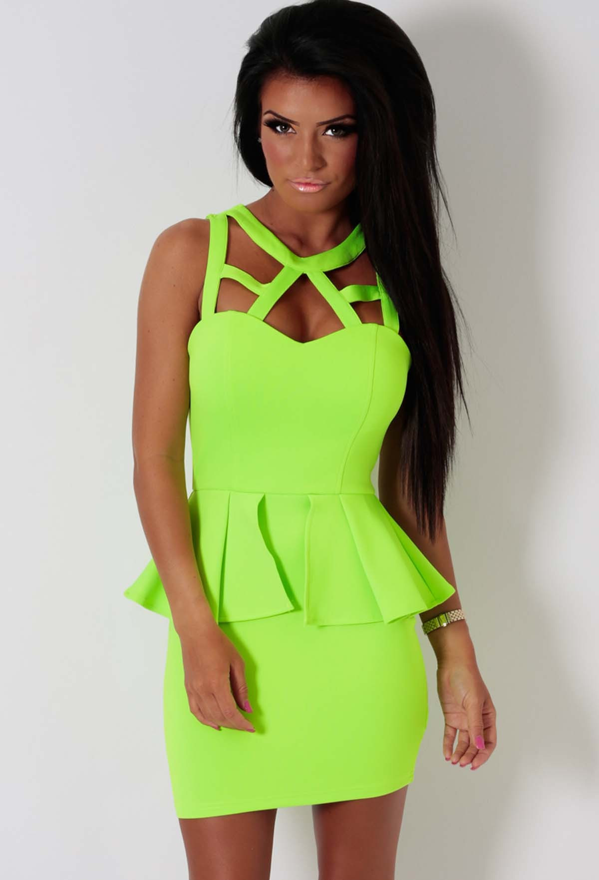 Tiana Lime Green Bodycon Peplum Dress | Pink Boutique