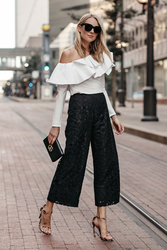 fashionjackson blogger top pants shoes bag sunglasses jewels fall outfits white top clutch sandals high heel sandals