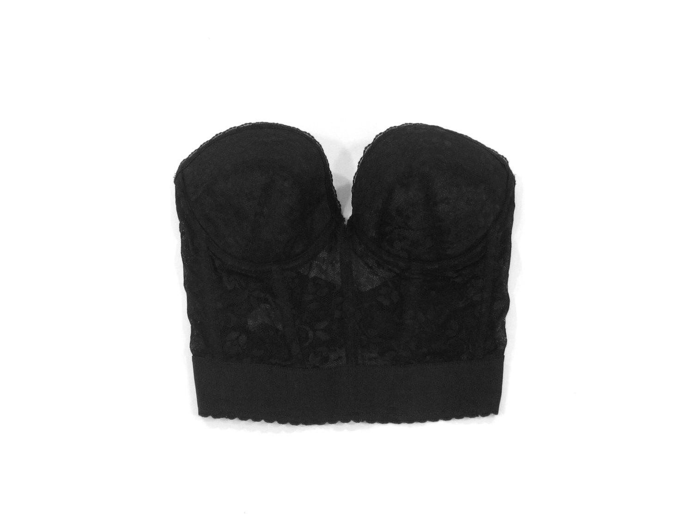 Bralet bra top strapless minimal grunge goth lingerie 90's size 36b 36 b cup small medium s m
